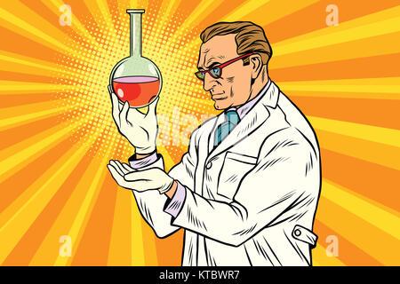 Scientist chemist analyzes laboratory flask - Stock Photo