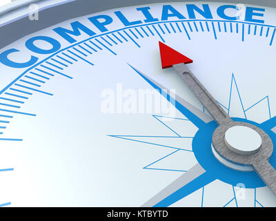 Compliance word on compass isolated - Stock Photo