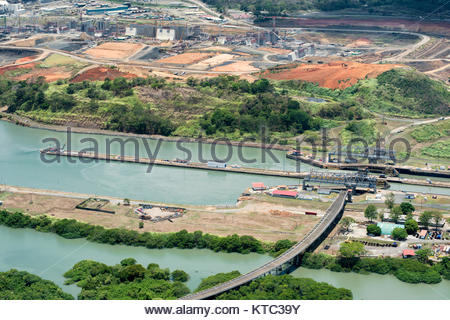 Aerial view of Miraflores locks and the construction of a wider channel and second set of locks in the far left - Stock Photo