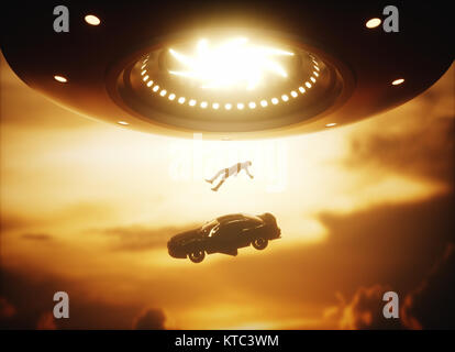 UFO Alien Abduction - Stock Photo