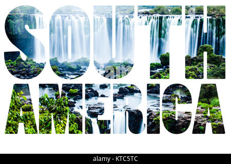 Word South America - Iguassu Falls, the largest series of waterfalls of the world - Stock Photo