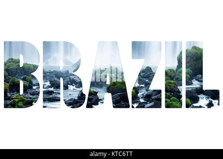 Word BRASIL over Iguassu Falls, the largest series of waterfalls of the world - Stock Photo