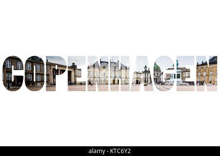 Word COPENHAGEN over famous city places. - Stock Photo