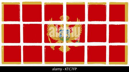 Glazed tiles montenegro flag - Stock Photo