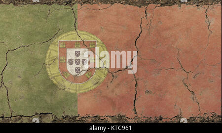 Old grunge vintage faded flag of Portugal - Stock Photo