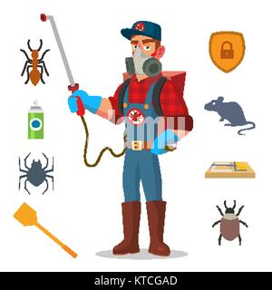 Pest Control Vector. Prevention From Infection, Microbes. Protective Clothes. Anti Germs. Exterminator. Spraying - Stock Photo