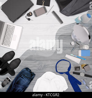 Gentleman kit - men's fashion clothes and accessories isolated on light wooden background. - Stock Photo