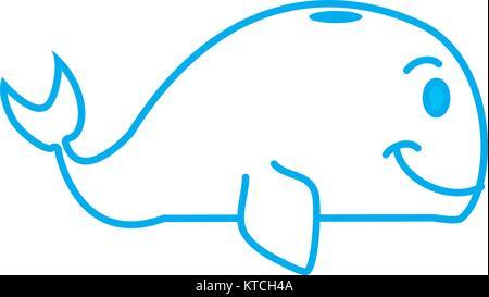 Whale cartoon isolated - Stock Photo