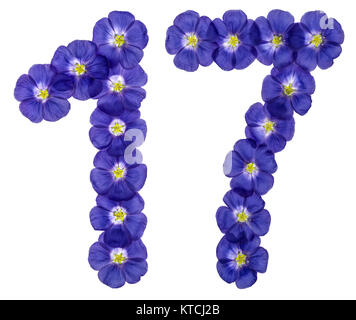 Arabic numeral 17, seventeen, from blue flowers of flax, isolated on white background - Stock Photo