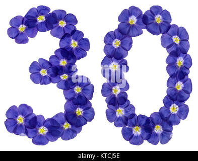 Arabic numeral 30, thirty, from blue flowers of flax, isolated on white background - Stock Photo