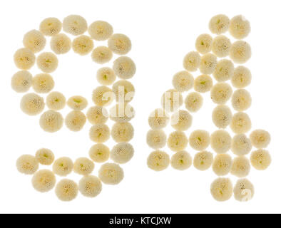Arabic numeral 94, ninety four, from cream flowers of chrysanthemum, isolated on white background - Stock Photo