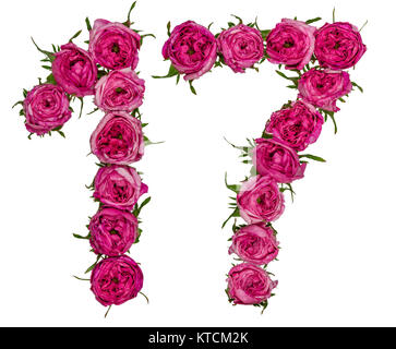 Arabic numeral 17, seventeen, from red flowers of rose, isolated on white background - Stock Photo