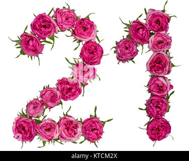 Arabic numeral 21, twenty one, from red flowers of rose, isolated on white background - Stock Photo