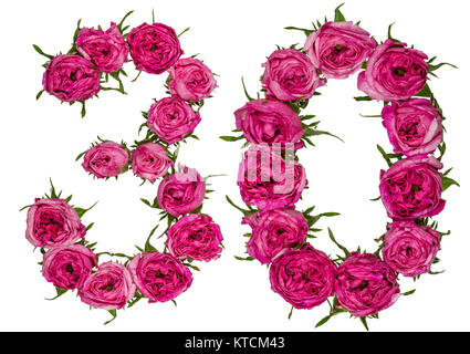 Arabic numeral 30, thirty, from red flowers of rose, isolated on white background - Stock Photo