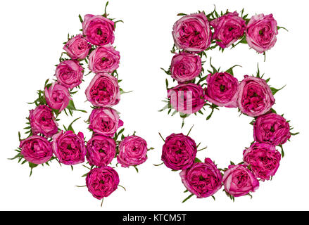Arabic numeral 45, forty five, from red flowers of rose, isolated on white background - Stock Photo