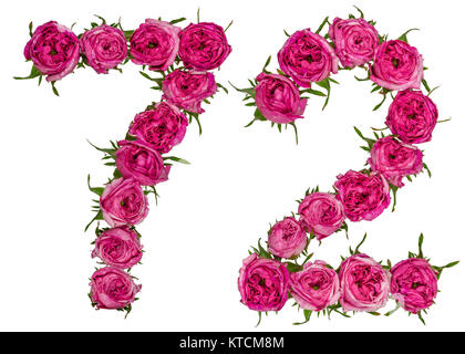 Arabic numeral 72, seventy two, from red flowers of rose, isolated on white background - Stock Photo