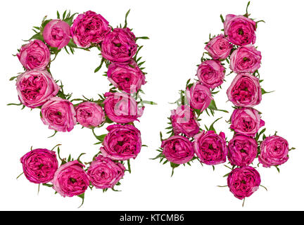 Arabic numeral 94, ninety four, from red flowers of rose, isolated on white background - Stock Photo