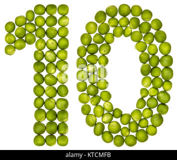 Arabic numeral 10, ten, from green peas, isolated on white background - Stock Photo