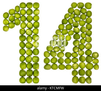 Arabic numeral 14, fourteen, from green peas, isolated on white background - Stock Photo