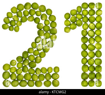 Arabic numeral 21, twenty one, from green peas, isolated on white background - Stock Photo