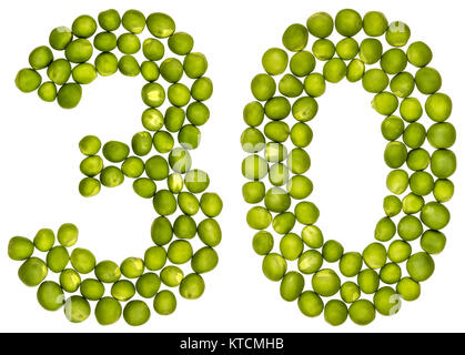 Arabic numeral 30, thirty, from green peas, isolated on white background - Stock Photo