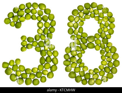 Arabic numeral 38, thirty eight, from green peas, isolated on white background - Stock Photo