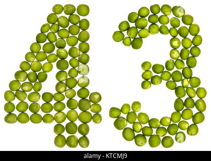 Arabic numeral 43, forty three, from green peas, isolated on white background - Stock Photo