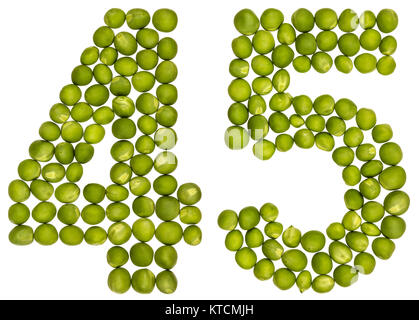 Arabic numeral 45, forty five, from green peas, isolated on white background - Stock Photo