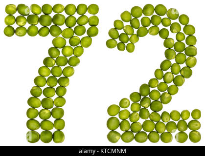 Arabic numeral 72, seventy two, from green peas, isolated on white background - Stock Photo