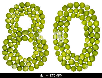 Arabic numeral 80, eighty, from green peas, isolated on white background - Stock Photo