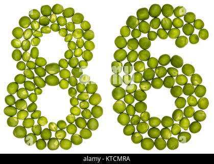 Arabic numeral 86, eighty six, from green peas, isolated on white background - Stock Photo