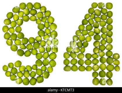 Arabic numeral 94, ninety four, from green peas, isolated on white background - Stock Photo