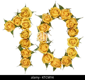 Arabic numeral 10, ten, from yellow flowers of rose, isolated on white background - Stock Photo