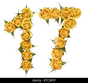 Arabic numeral 17, seventeen, from yellow flowers of rose, isolated on white background - Stock Photo
