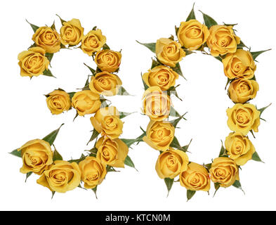 Arabic numeral 30, thirty, from yellow flowers of rose, isolated on white background - Stock Photo