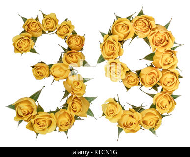 Arabic numeral 39, thirty nine, from yellow flowers of rose, isolated on white background - Stock Photo