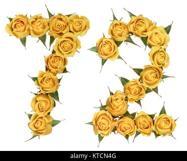 Arabic numeral 72, seventy two, from yellow flowers of rose, isolated on white background - Stock Photo