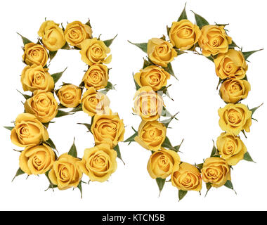 Arabic numeral 80, eighty, from yellow flowers of rose, isolated on white background - Stock Photo