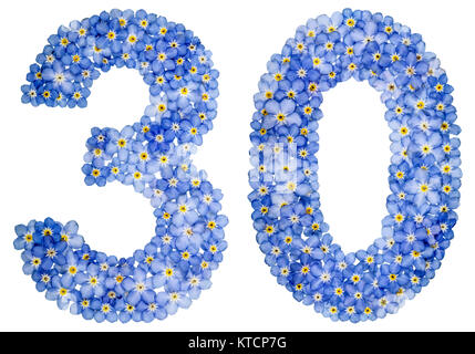 Arabic numeral 30, thirty, from blue forget-me-not flowers, isolated on white background - Stock Photo