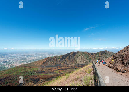 Trail up to the crater of Mount Vesuvius, Naples, Campania,Italy - Stock Photo