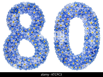 Arabic numeral 80, eighty, from blue forget-me-not flowers, isolated on white background - Stock Photo