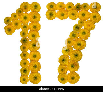 Arabic numeral 17, seventeen,  from yellow flowers of buttercup, isolated on white background - Stock Photo