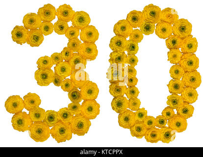Arabic numeral 30, thirty, from yellow flowers of buttercup, isolated on white background - Stock Photo