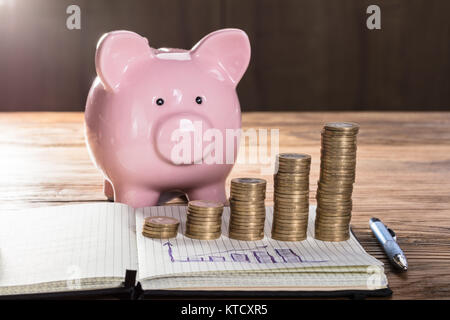 Coin Stacks With Graph On Notebook In Front Of Piggybank - Stock Photo