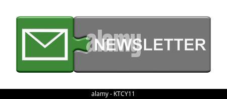 Isolierter Puzzle Button aus zwei Teilen mit Symbol zeigt Newsletter - Stock Photo