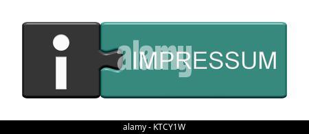 Isolierter Puzzle Button aus zwei Teilen mit Symbol zeigt Impressum - Stock Photo