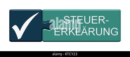 Isolierter Puzzle Button aus zwei Teilen mit Symbol zeigt Steuererklärung - Stock Photo