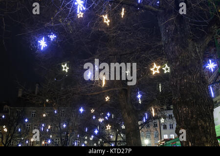 MUNICH, GERMANY - DECEMBER 11, 2017 : Illuminated ornated trees on the streets at night in center of Munich, Germany. - Stock Photo
