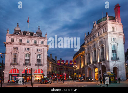 LONDON, UK - JUNE 17, 2013: Regent Street decorated with flags to celebrate the 60th Anniversary of Queen Elizabeth - Stock Photo