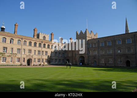 Cambridge, United Kingdom - April 18, 2015 Bronze horse in First Court at Jesus College - Stock Photo